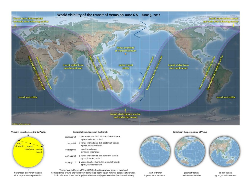 World visibility map for June 5-6, 2012 Venus Transit. Credit: M. Zeiler